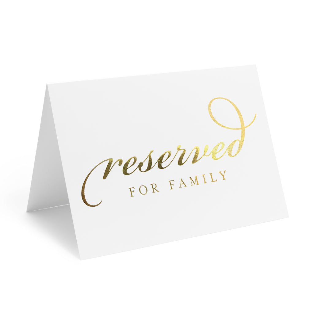 Gold Reserved Signs for Wedding Ceremony or Reception, 4x6 Tented Metallic Real Gold Foil Cards for Tables, Chairs, Pews, Framing - Pack of 10