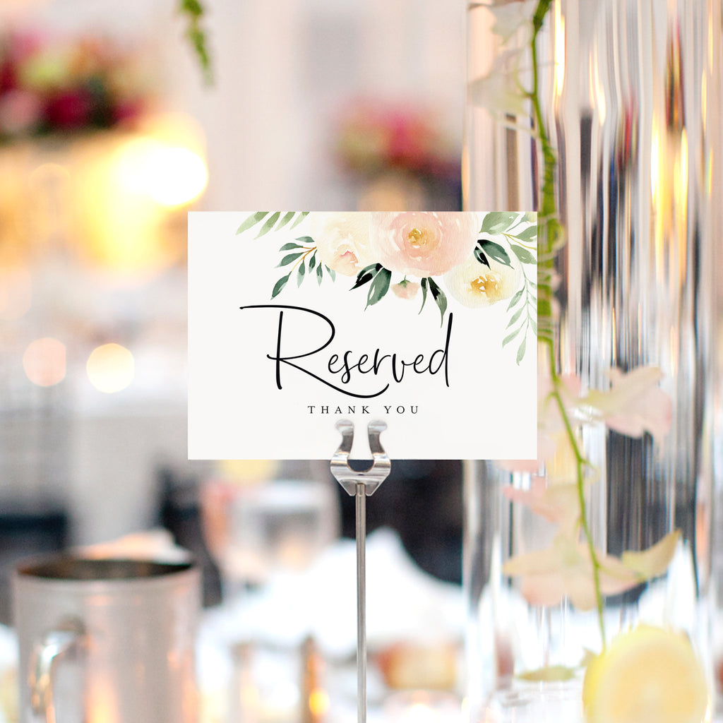 Blush Floral Reserved Signs for Wedding, 4x6 Reserved Table Cards, Table Setting Cards (10 Pack)