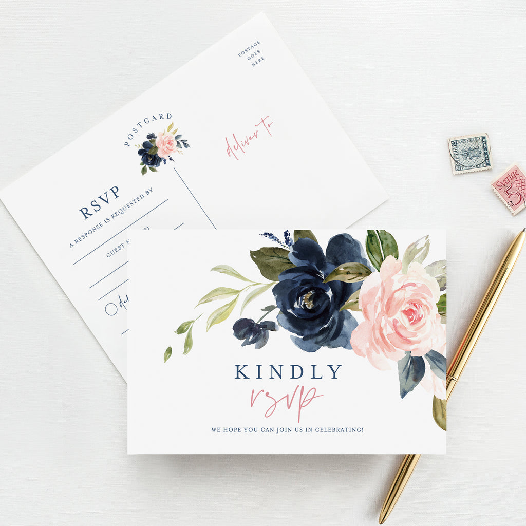 RSVP Postcards for Wedding, Navy Floral Response & Reply Cards Perfect for Showers, Rehearsal Dinner, Engagement Party,  50 Pack