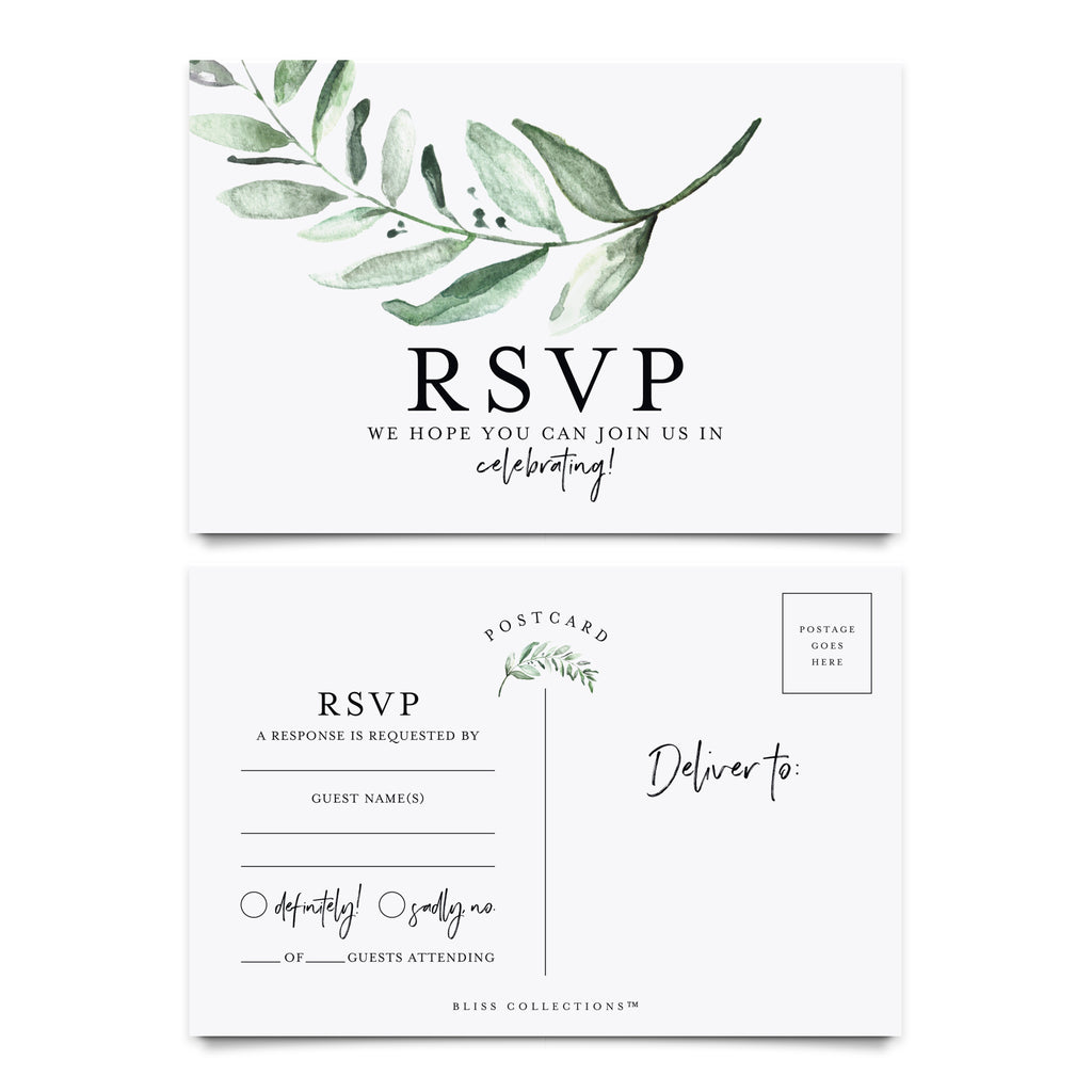 RSVP postcards for Wedding, Rustic Greenery Response Cards, Reply Cards Perfect for Bridal Shower, Rehearsal Dinner, Engagement Party, Baby Shower or any Special Occasion (50 Pack)