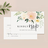 50 RSVP Blush Floral Postcards