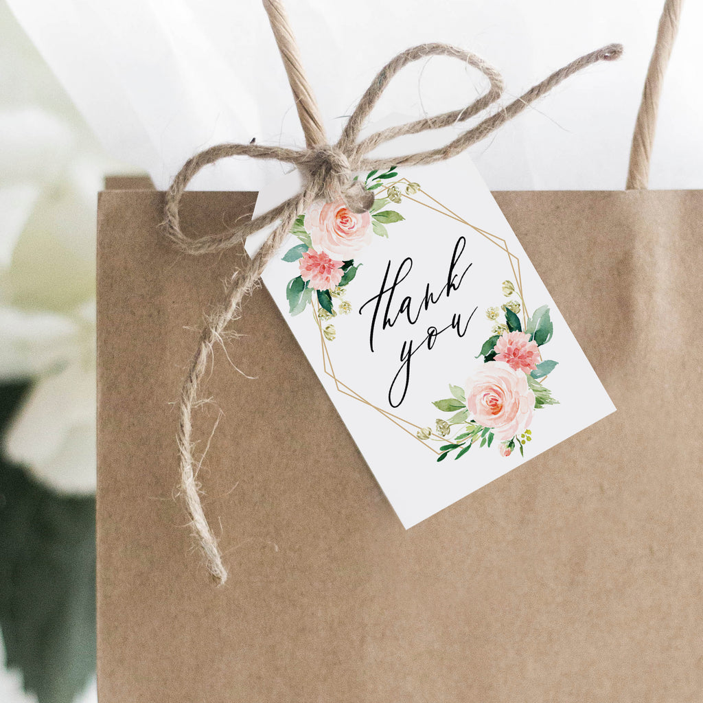 Geometric Floral Favor Thank You Tags (Pack of 50)