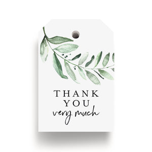Greenery Watercolor Favor Thank You Tags (Pack of 50)
