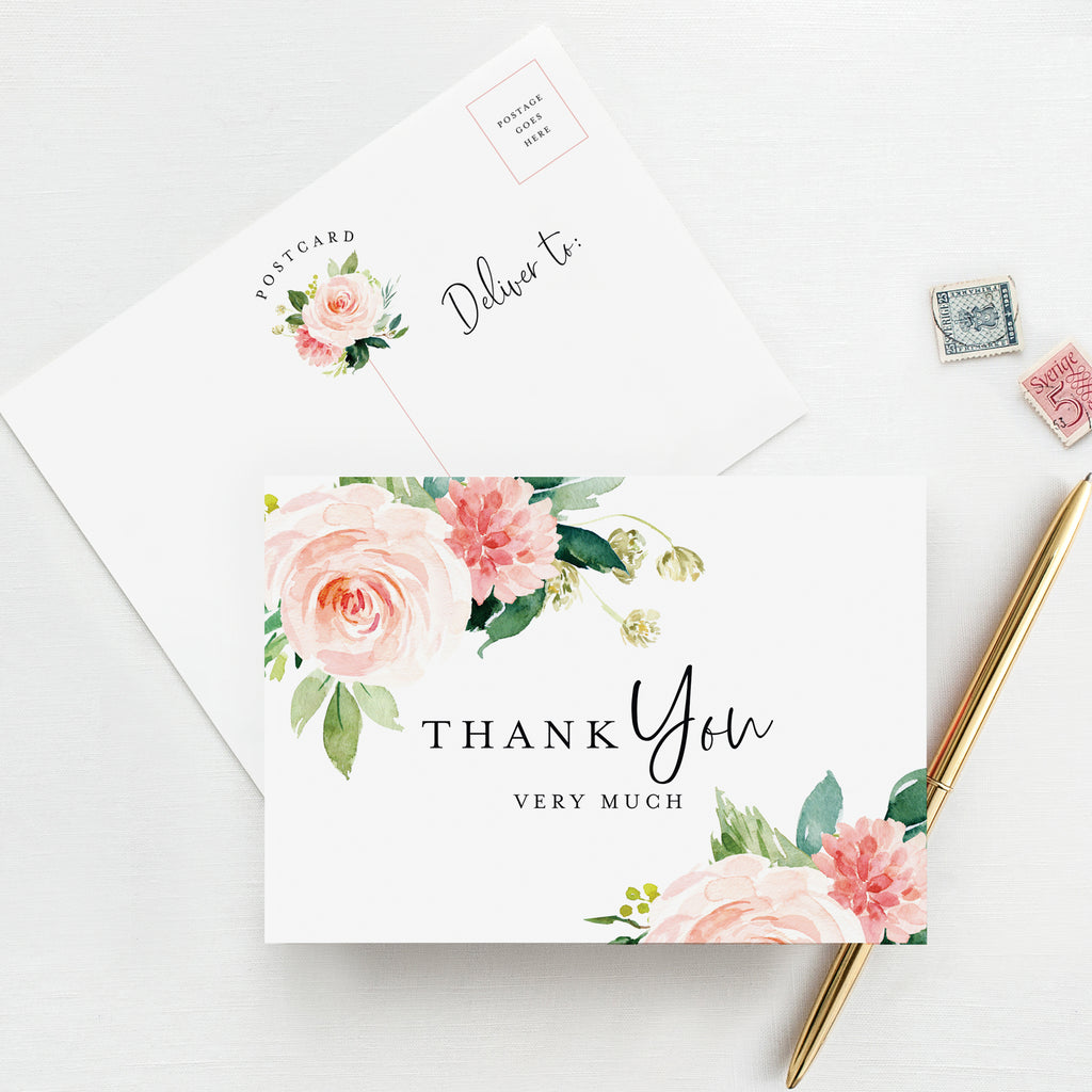 50 Boho Floral Thank You Postcards for any Occasion