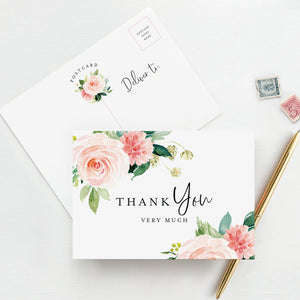Floral Thank You Cards, Postcard Style Notes, Boho Design Perfect for: Wedding, Bridal Shower, Baby Shower, Birthday, Funeral or a Great Way just to say Thanks! (Pack of 50)