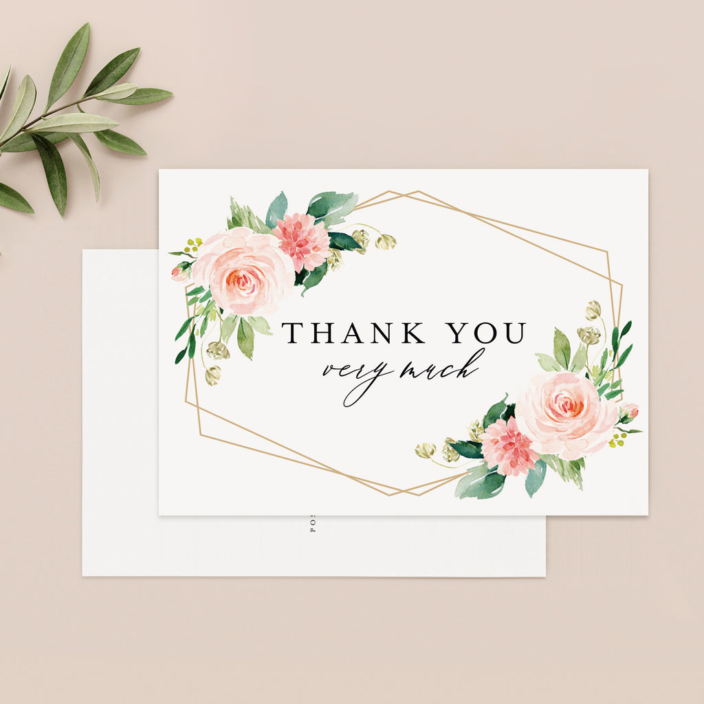 Floral Thank You Postcards, Blush Floral Geometric Cards, Perfect for: Wedding, Bridal Shower, Baby Shower, Birthday, 4x6