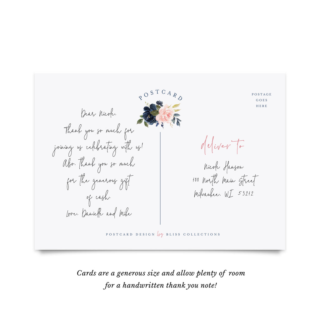 Navy Floral Thank You Cards, Postcard Style, Perfect for: Wedding, Bridal Shower, Baby Shower, Birthday, Funeral (50 Pack)