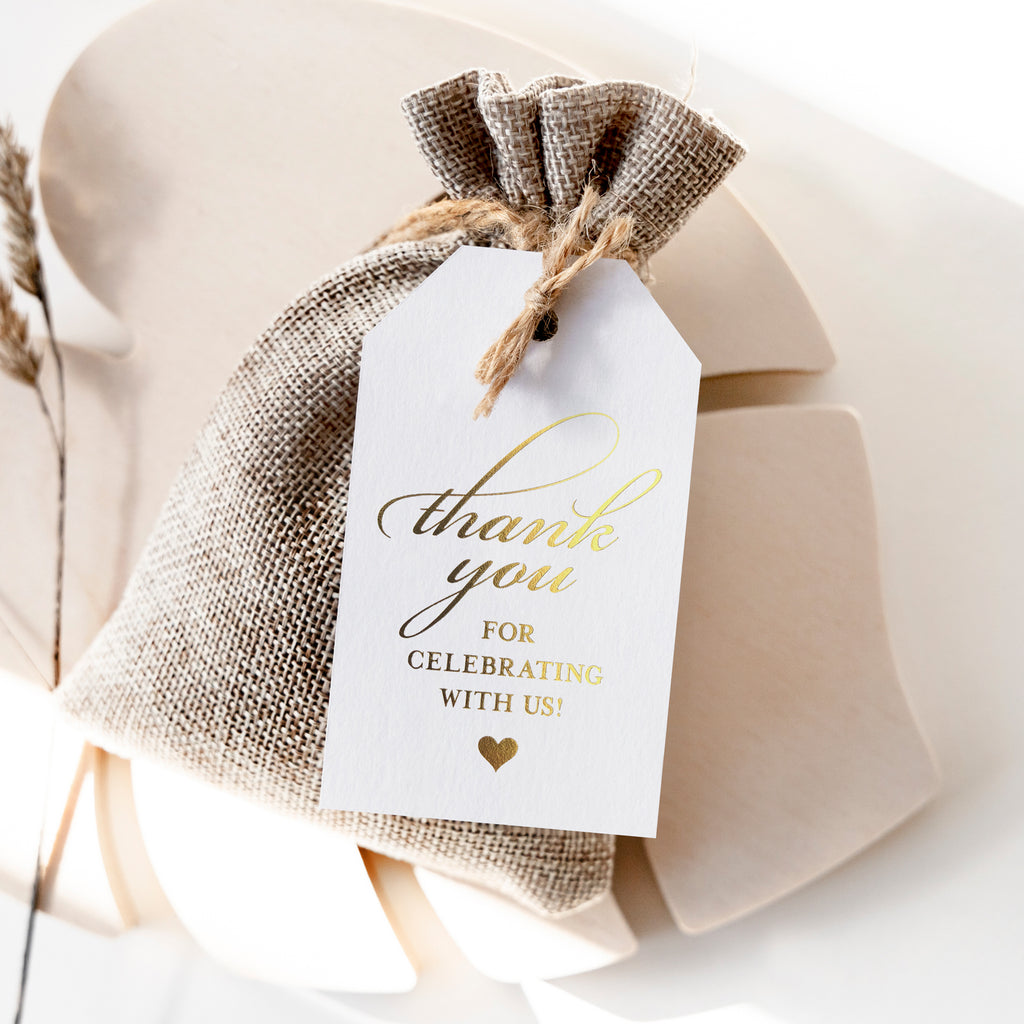 Gold Foil Favor Thank You Tags (Pack of 50)