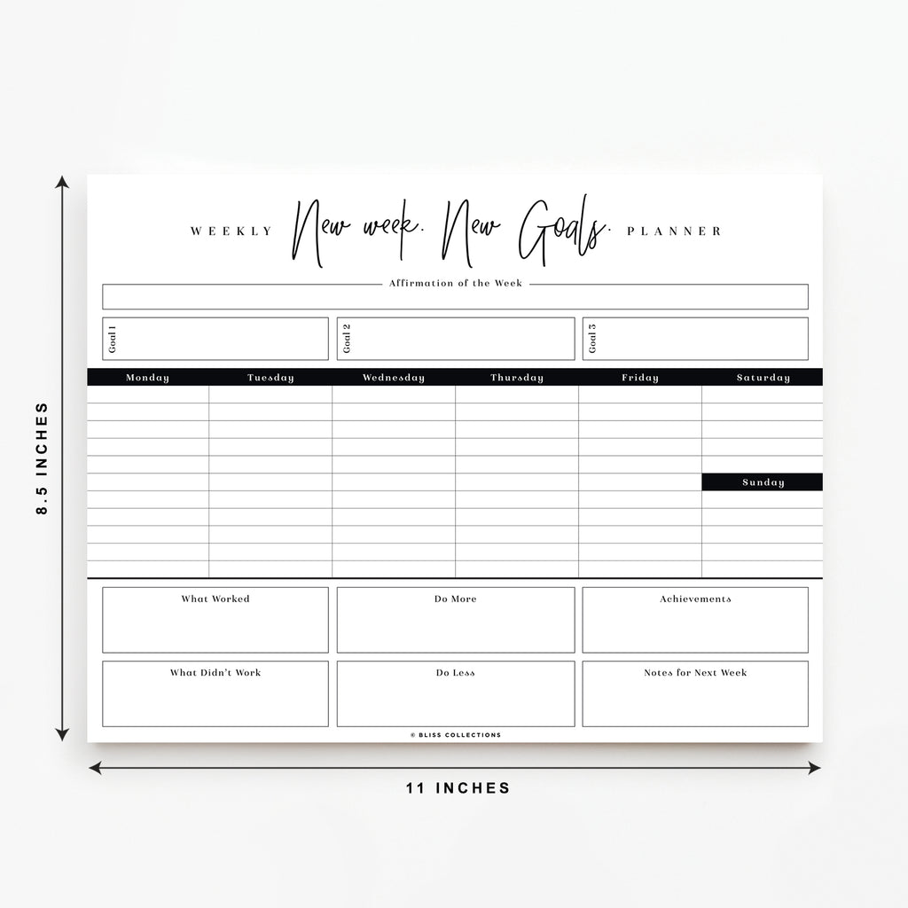 Weekly Planner Goal Planning Pad 8.5x11 with 50 Undated Tear-Off Sheets, New Week New Goals Calendar and Organizer to Track Productivity, Tasks, Notes, To Do Lists - Keeps You Organized & On Schedule
