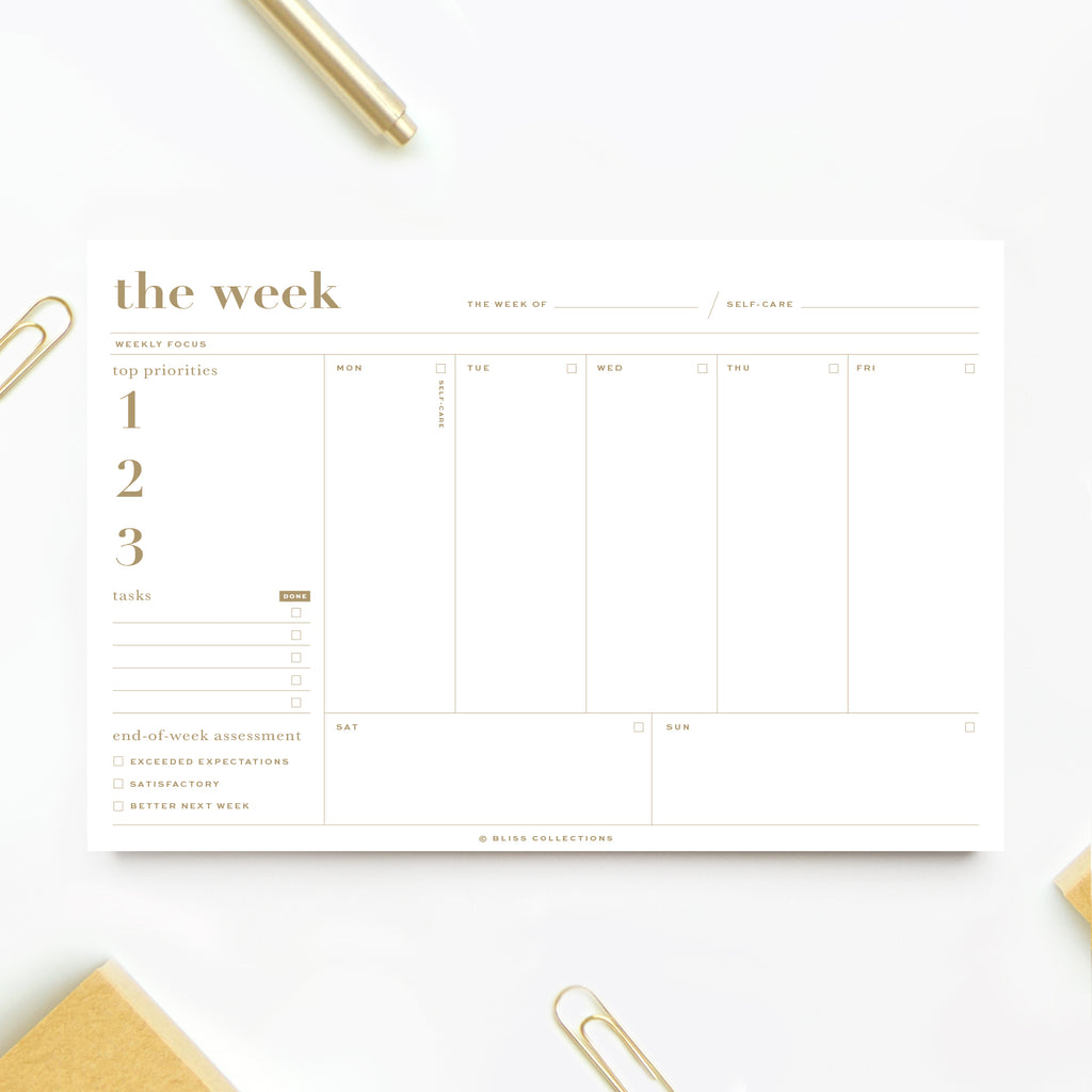 Essential Weekly Planner 6 x 9 with 50 Undated Tear-Off Sheets, Gold Organizer notepad, track productivity, tasks and more!