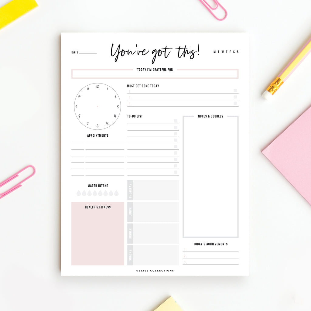 8.5x11 Motivational Daily Planner Tear-off Pad