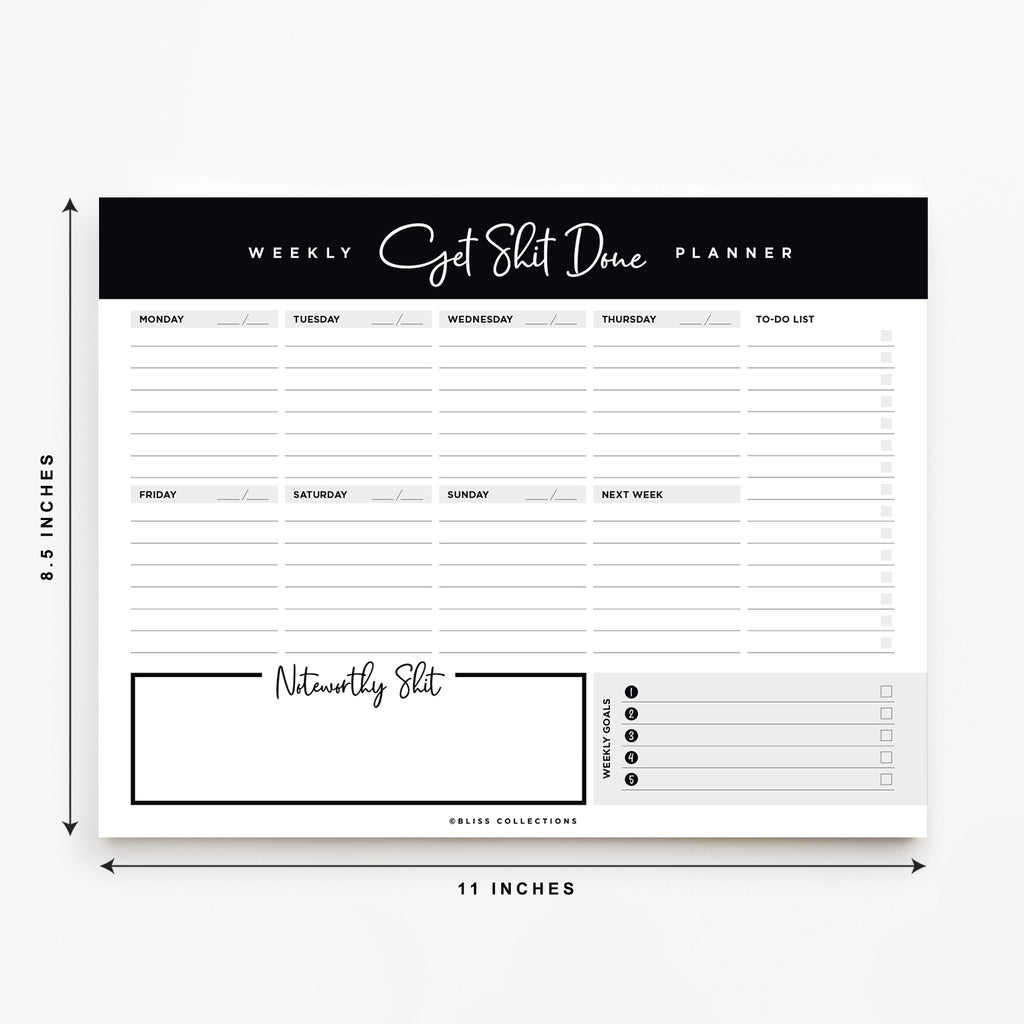 Get Shit Done Weekly Planner Tear Off Pad, 50 Undated Sheets, Desk Notepad, Weekly Calendar, Task Planner, Goal Tracker, To Do List, Productivity Schedule Organizer, 8.5x11
