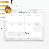 8.5x11 Marble Weekly Planner Tear-off Pad