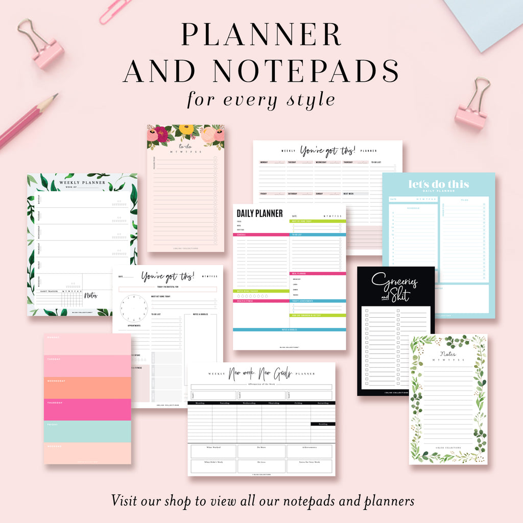 Motivational Weekly Planner Tear-off Pad
