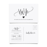 RSVP postcards for Wedding, 50 pack of Response Cards, Reply Cards Perfect for Bridal Shower, Rehearsal Dinner, Engagement Party, Baby Shower or any Special Occasion