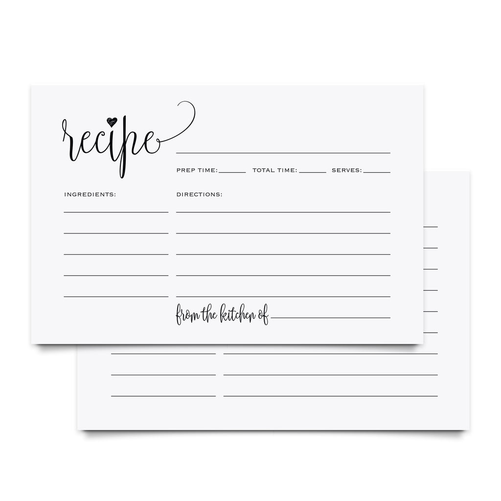 Recipe Cards 4x6 Double Sided — Recipe Cards for Bridal Shower, Wedding Shower, Housewarming Gift! (Pack of 50)