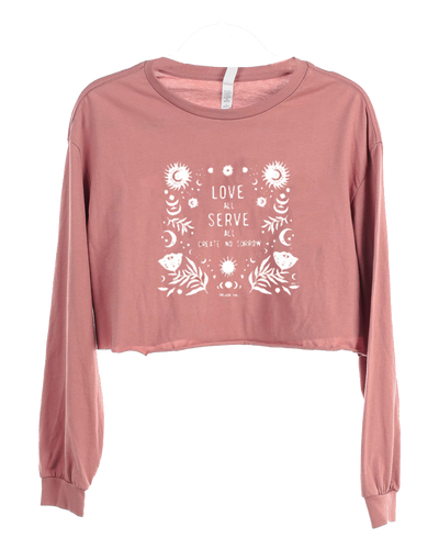 Women's Mauve Love All Crop Long Sleeve