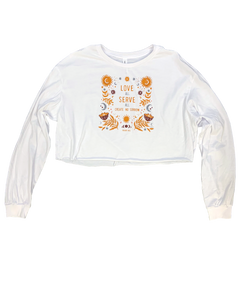 Women's White Love All Crop Long Sleeve