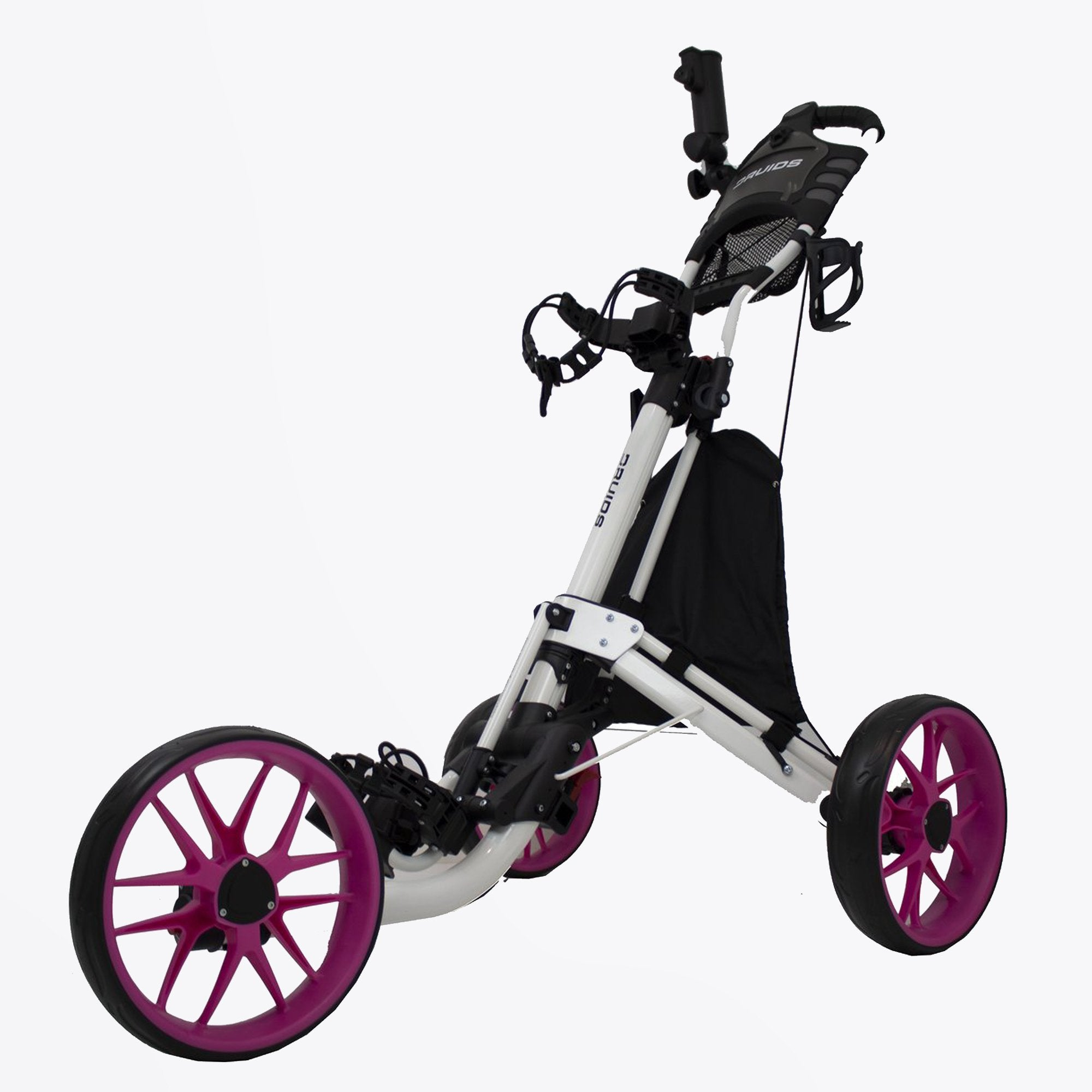 Druids Golf - Compact EZ Carbon Trolley (White/Pink)