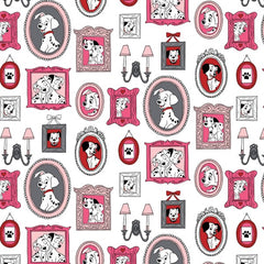 101 Dalmatian Family Frames on White Fabric to sew - QuiltGirls®