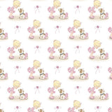 "(Remnant 18"") Precious Moments Ballerina Toss Fabric to sew - QuiltGirls®"