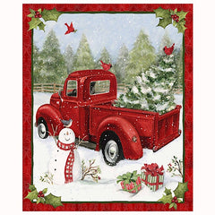 Christmas Red Truck Panel to Sew - QuiltGirls®