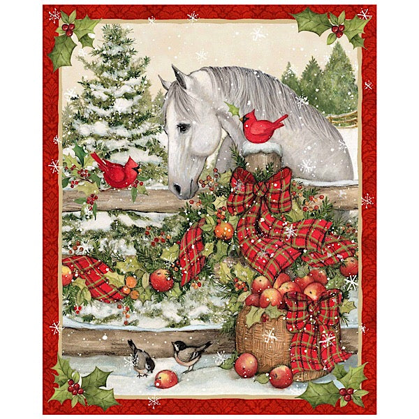Christmas Horse with Bow Quilt Panel to Sew
