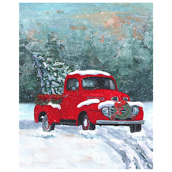 Snowy Red Truck with Christmas Tree Panel to Sew