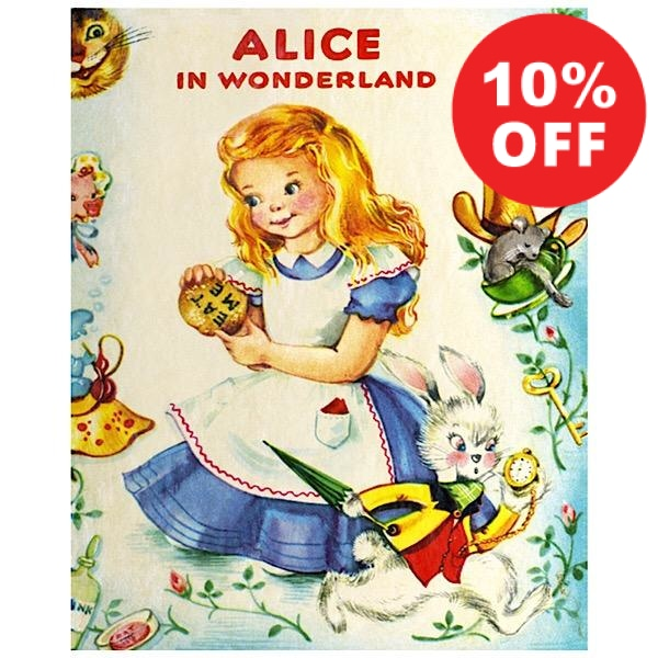 Vintage Looking Alice in Wonderland Quilt Panel to sew