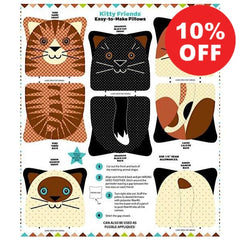 Kitty Friends Snuggle Pillow Panel to sew - QuiltGirls®