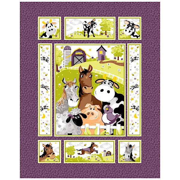 Susybee's Barnyard Buddies Quilt Panel to sew