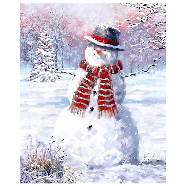 Snowman in a Snowy Field Panel to Sew