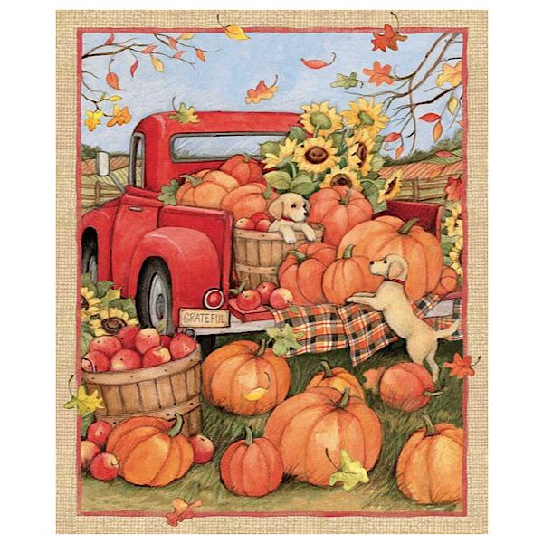 Harvest Red Truck Pumpkins and Puppies Panel to Sew