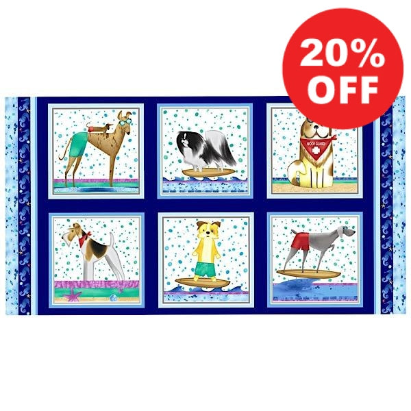Surfin' Hounds Fabric Panel to sew - QuiltGirls®