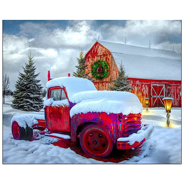 Snowy Red Truck with Red Barn Panel to Sew