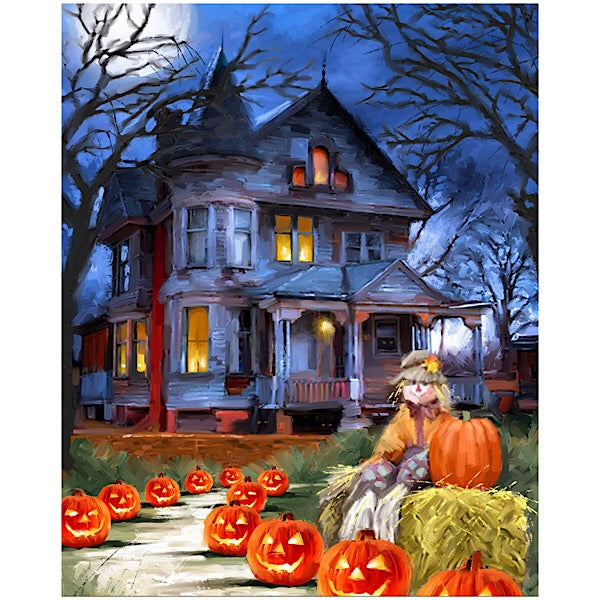 Spooky House with Pumpkins Panel to Sew
