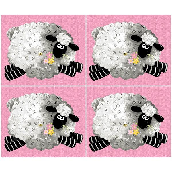 Susybee's La the Lamb Pink 4 Block Panel to sew - QuiltGirls®