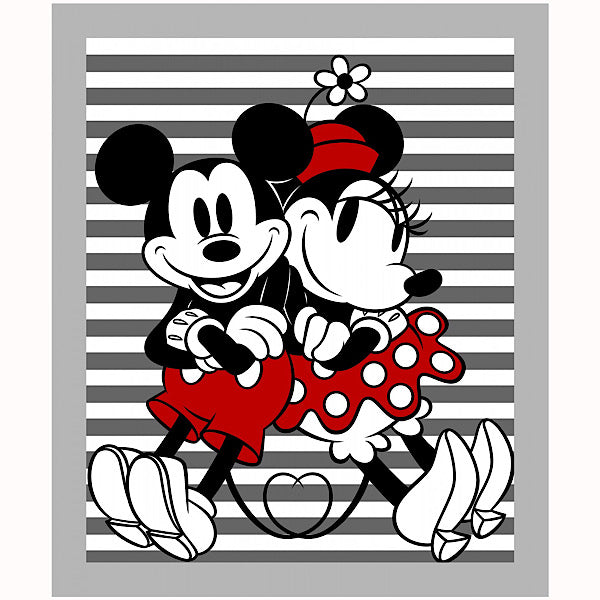 Mickey and Minnie Mouse Stripe Quilt Panel to sew