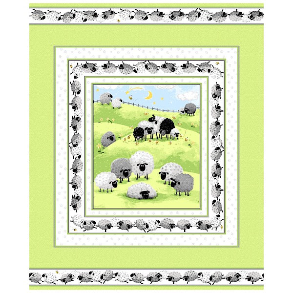 Susybee's Lewe the Ewe Green Quilt Panel to sew