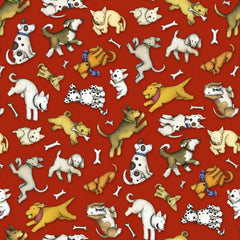 "(Remnant 18"") All You Need is Love and a Dog Toss on Red Fabric to sew - QuiltGirls®"