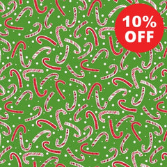 All the Trimmings Candy Canes on Green Fabric to Sew - QuiltGirls®