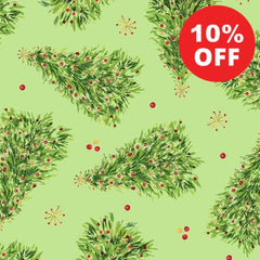 All the Trimmings Christmas Trees on Green Fabric to Sew - QuiltGirls®
