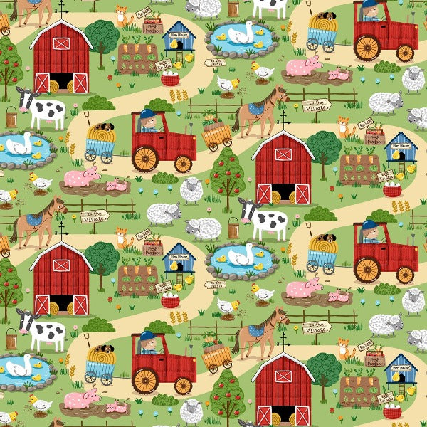 Around the Farm Scenic Fabric to sew