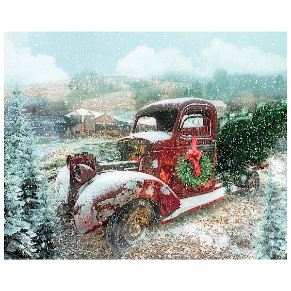 Vintage Red Truck with Christmas Wreath Panel to Sew