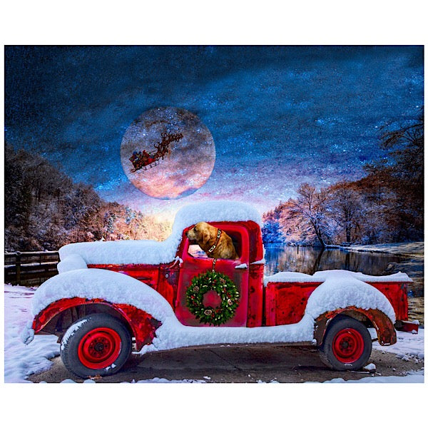 Christmas Red Truck with Santa's Sleigh Panel to Sew - QuiltGirls®
