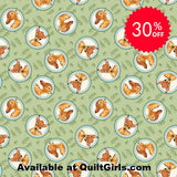 Bambi Badges on Green Fabric to sew - QuiltGirls®