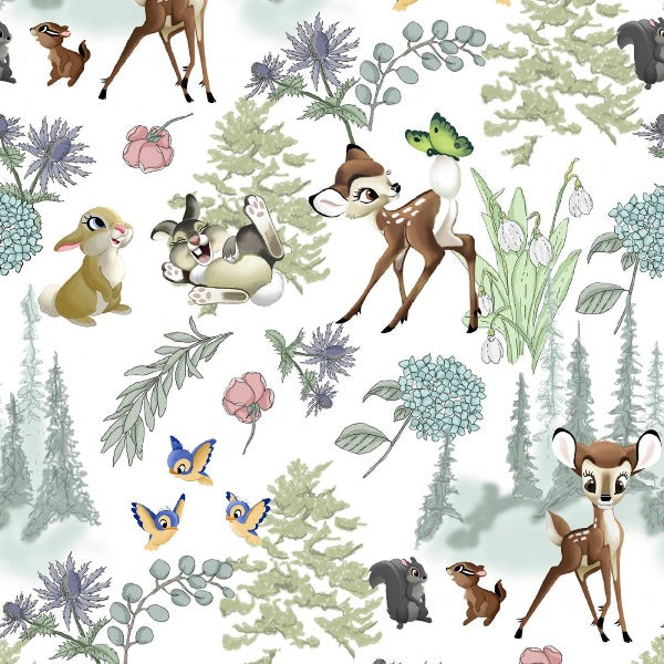 "(Remnant 18"") Disney Bambi and Thumper Forest Scenic Fabric to sew"
