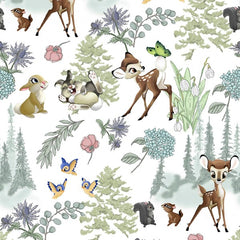 "(Remnant 18"") Disney Bambi and Thumper Forest Scenic Fabric to sew - QuiltGirls®"