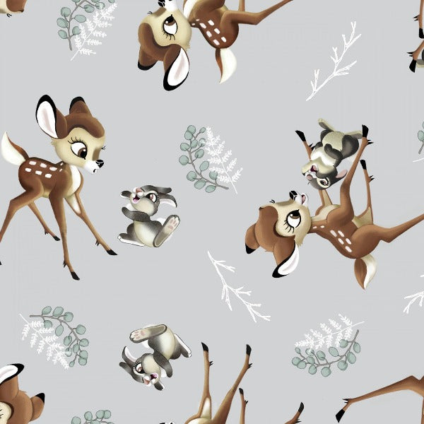 "(Remnant 18"") Disney Bambi and Thumper Tossed on Gray Fabric to sew"