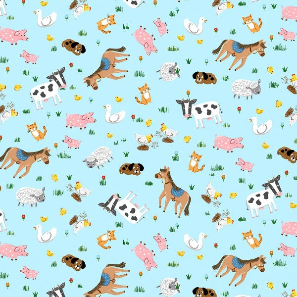 Around the Farm Animal Toss on Blue Fabric to sew - QuiltGirls®